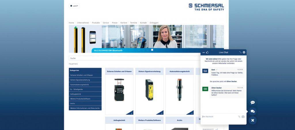 Schmersal Ibérica: aconselhamento em tempo real enquanto navega pelo catálogo online