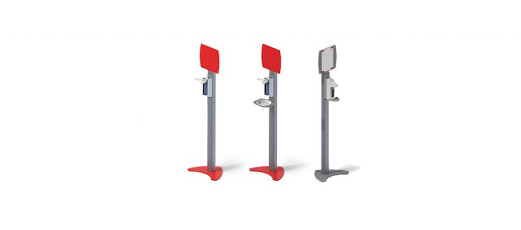 Bernstein: Estação/coluna de desinfeção móvel, em alumínio, com dispensador de desinfetante e painel metálico para ímanes