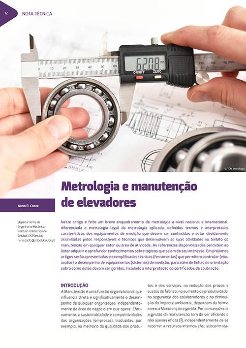artigo técnico sobre Metrologia e manutenção de elevadores